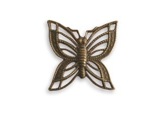 Vintaj Natural Brass 16x16mm Filigree Butterfly x1