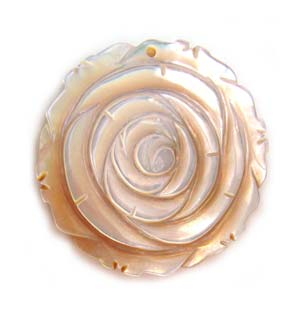 Mother of Pearl Pendant 40mm ~ Carved Rose