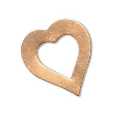 Copper Metal Stamping Blank, Heart Washer 21.5x19.6mm 24ga x1