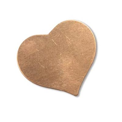 Copper Metal Stamping Blank, Heart 24x22mm 24ga x1