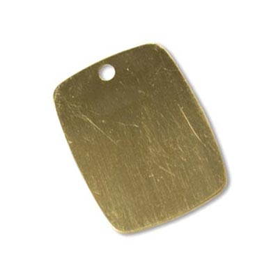 Gold Filled Rounded Rectangle Tag 24.3x19mm 24g Stamping Blank Pendant x1