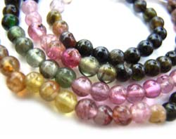 Multi-Tourmaline ~ 3-3.5mm Round Gemstone Beads per half strand