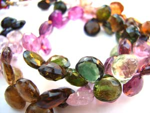 Multi-Tourmaline 6-7mm Heart Shape Briolette Gemstone Beads per half layout