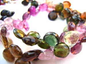 Multi-Tourmaline 6-7mm Heart Shape Briolette Gemstone Beads per half layout