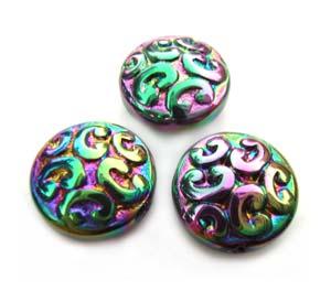 Imperial Crystal Beads ~ Rainbow Nouveau Lentil Tab Bead 13x6mm