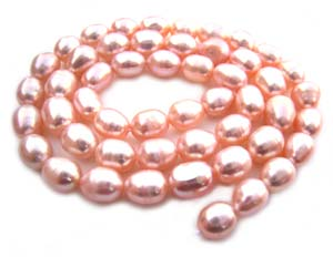 Freshwater PEARL Beads Egg 6x7mm Peach