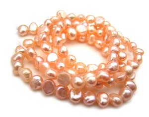 Freshwater PEARL Beads Potato 5mm Peach