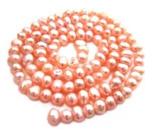 Freshwater PEARL Beads Potato 4-5mm Peach
