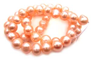 Freshwater PEARL Beads Round 8x7mm Peach