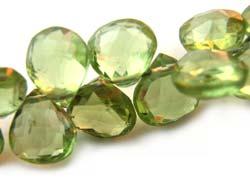 Peridot ~ Heart Shape Briolette ~ Gemstone Beads 4-5mm per half layout