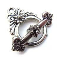 Bali Style Floral Design Toggle Clasp - Silver Tone