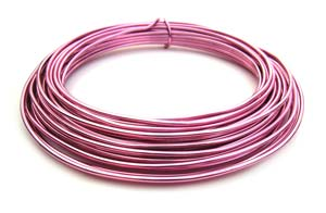 Aluminium Wire 12 gauge x39ft / 12m - Pink