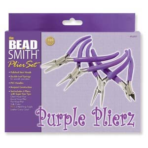 Beadsmith Purple Plierz - Plier Set of Round, Flat, Chain Nose & Side Cutter in Leatherette Case