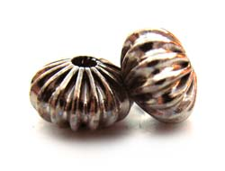 Ribbed Roundel Bead 9mm Silver x10