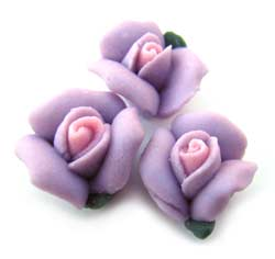 Handmade Sculpted Porcelain Rose & Leaf Beads - 9-10mm Mauve x2