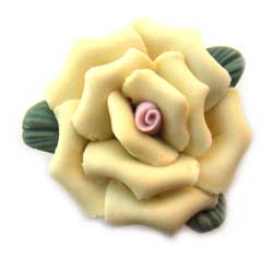 Handmade Sculpted Porcelain Rose & Leaf Beads - Yellow Focal 25mm