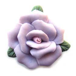 Handmade Sculpted Porcelain Rose & Leaf Beads - Mauve Focal 25mm