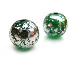 Round Glass Beads 8mm ~ Green & Silver x15