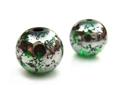 Round Glass Beads 10mm ~ Green & Silver x10