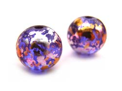 Round Glass Beads 8mm ~ Purple & Gold x15
