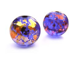 Round Glass Beads 10mm ~ Purple & Gold x10