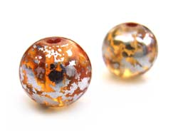 Round Glass Beads 8mm ~ Silver & Gold (lt Topaz) x15
