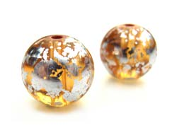 Round Glass Beads 10mm ~ Silver & Gold (lt Topaz) x10