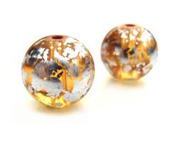 Round Glass Beads 10mm ~ Silver & Gold (lt Topaz) x10