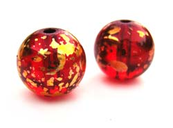 Round Glass Beads 10mm ~ Red & Gold x10