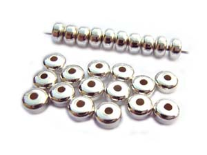 Base Metal Beads - 4.5x2.5mm Donut Spacer Silver Plated x72 approx