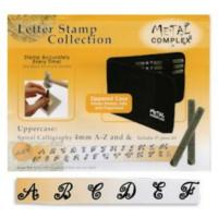 Spiral Calligraphy Alphabet Upper Case Letter 4mm Stamping Set - Metal Complex