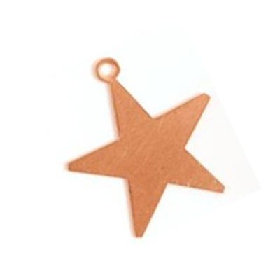 "Copper Star 24g Stamping Blank 1"" 22x24mm with Ring"