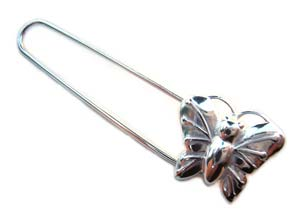 Sterling Silver Brooch Kilt Pin ~ with Butterfly