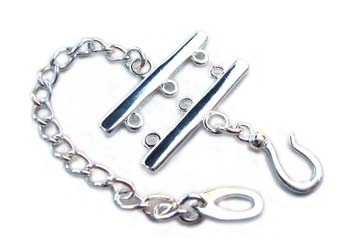 Sterling Silver Clasps - 3-Strand 23mm Hook & Eye Clasp x1