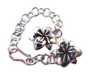 Sterling Silver Flower Hook & Eye Clasp with Chain