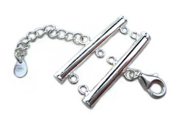 Sterling Silver Clasps - 3-Strand 30mm Tube Bar Clasp x1