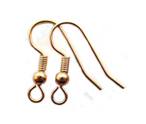 Surgical Steel Earring Hooks 3mm Ball & Coil 18x15mm Gold Plated x5 prs