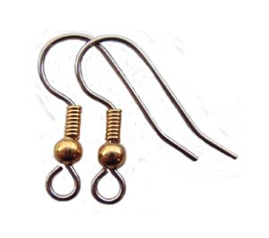 Surgical Steel Earring Hooks 18x15mm Gold Plated 3mm Ball & Coil x5 prs