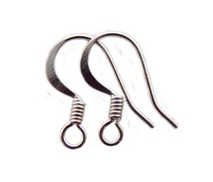 Surgical Steel Earring Hooks 15x11mm Flattened Wire with Coil Silver Plated x5 prs