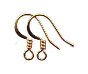 Surgical Steel Earring Hooks 15x11mm Flattened Wire with Coil Gold Plated x5 prs