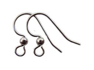 Surgical Steel Earring Hooks 13x14mm with Ball Silver Plated x5 prs
