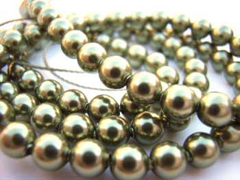 Swarovski Crystal Pearl Beads 6mm Green Light Pearls x10