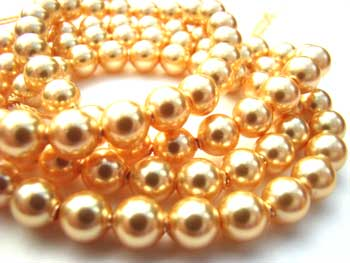 Swarovski Crystal Pearl Beads 6mm Gold Pearls x10