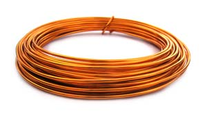 Aluminium Wire 12 gauge (2mm) x39ft (12m) Tangerine