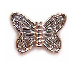 zTibetan Style ~ Platinum Plated Silver Metal ~ 14x10.5x3mm Butterfly Bead x10 (for Craft Use)