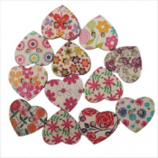 Wooden Heart Buttons 24x21x2.7mm Assorted x1