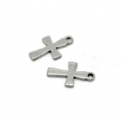 Stainless Steel Cross 12x7mm 20g Blank Charm x2