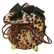 Leapoard Print Furry Cinch Pouch x1