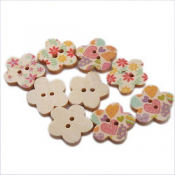 Wooden Flower Buttons 17mm Assorted x1