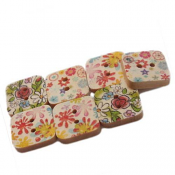 Wooden Square Buttons 15x15mm Assorted x1